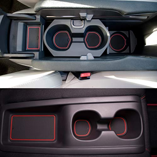 - Custom Fit Cup, Door Center Console Liner Accessories Honda Civic 2018 2017 20-pc Set (Type R Full Kit, Red Trim)