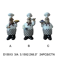 Turtle King Corp Bistro Fat Chef Figurine 3pc Kitchen Decor D15513