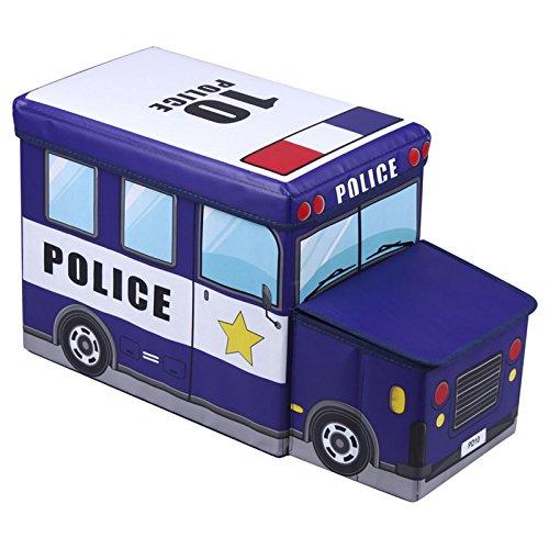 Sitzhocker Spielzeugtruhe POLIZEI in blau faltbar mit abnehmbaren Deckel und Strauraum
