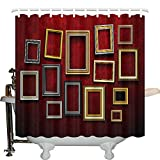 JXHLMS Antique Decor Shower Curtain Set, Picture Frame On A Damaged Brick Wall in Aged Old Rustic Wooden, Bathroom Accessories, 66 INCHES Wide x 72 INCHES Long