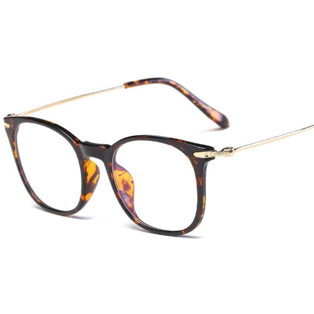 NDY Glasses Men and Women Anti-Blu-ray Glasses Flat Mirror High-Grade TR90 Goggles Protective Eye Light Transmittance 95% / Frame: PC + Metal Lens Type: Plated Membrane (Color : Bean Flower Frame)