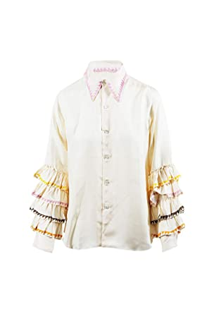 f5458e430765e9 Jupe By Jackie Women's Cream Embroidered Ruffle Sleeve Blouse SZ M ...