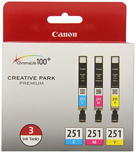 Canon CLI-251 CYAN,MAGENTA,YELLOW Ink, Compatible to MX922,MG7520,MG7120,MG6620,MG5620,iP8720,MG6420,MG6320 and MG5420, 3/Pack -