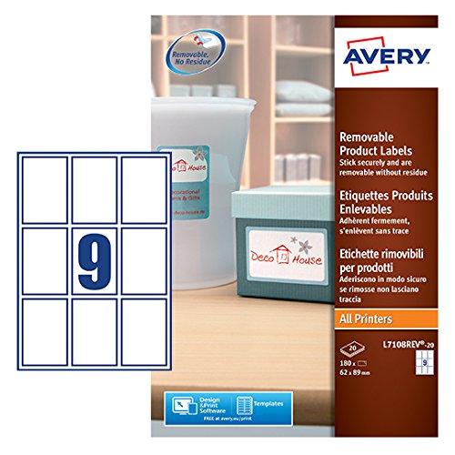Avery L7108REV-20 Etichette per Prodotti Bianche Rimovibili, Rettangolari, 62 x 89 mm, 20 ff, Bianco 392380