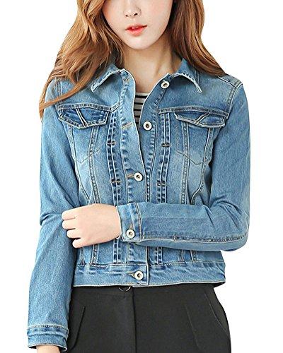 Con Chaquetas Corto Metálica Jacket Azul Decoración Denim Autocultivo Abrigo Mujer Casual HPBSn