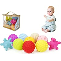 LITTLEGRASS Pack of 10 Sensory Balls for Babies, Soft & Textured Spiky Balls Squeezy and Bouncy Fidget Toys Multi-Shape with Bright Colors and Sounds Toddler for Baby BPA Free