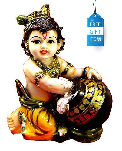 SN Handicrafts Hand Carved Baby Krishna Resin Idol Sculpture Statue