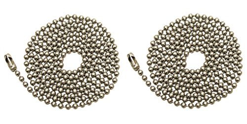 Brushed Nickel 3' Pull - Pack Of 2 Pull Chain Extension, 36 Inch, Brushed Nickel 3-Feet Beaded Chain With Connector