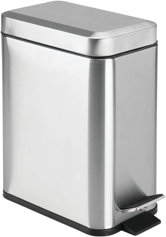 mDesign 1.3 Gallon Rectangular Metal Step Trash Can Wastebasket, Garbage Container Bin, Bathroom, Powder Room, Bedroom, Kitchen, Craft Room, Office - Removable Liner Bucket, Brushed Stainless Steel
