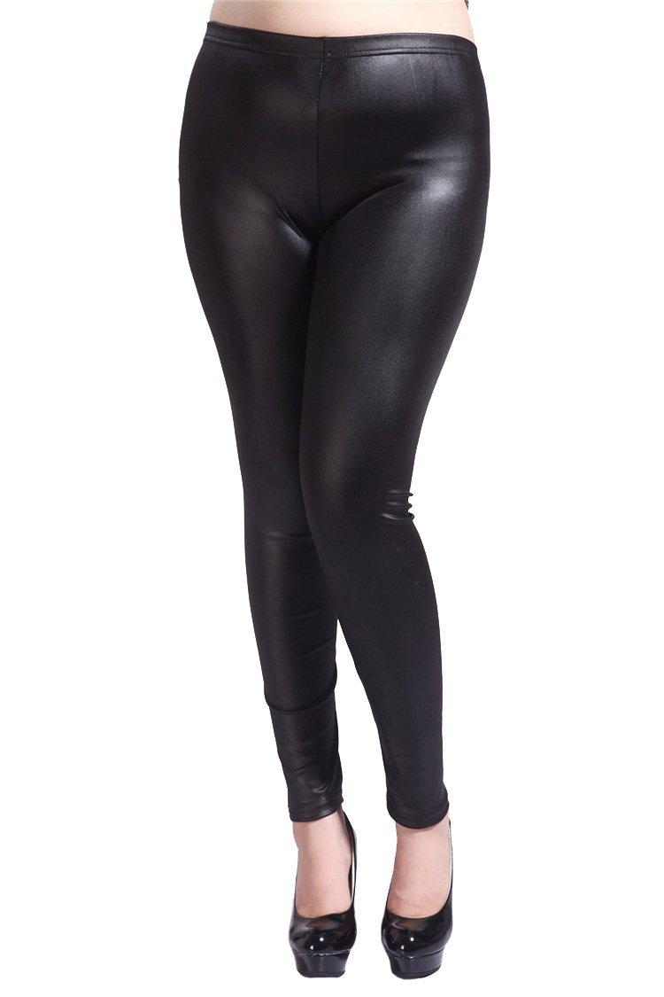 YMING Sexy Women Faux Leather Legging Tight Legging Black Size 3XL by YMING (Image #2)