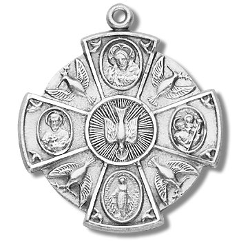 Sterling Silver Medal Large Round 4-way with 24'' Stainless Steel Chain in Gift Box. Catholic Saint Christopher Patron Saint of Bookbinders, Epilepsy, Gardeners, Mariners, Pestilence, Thunder-storms, Travelers, Travel, Motorists, Truck Drivers, Bus Drivers by HMH001