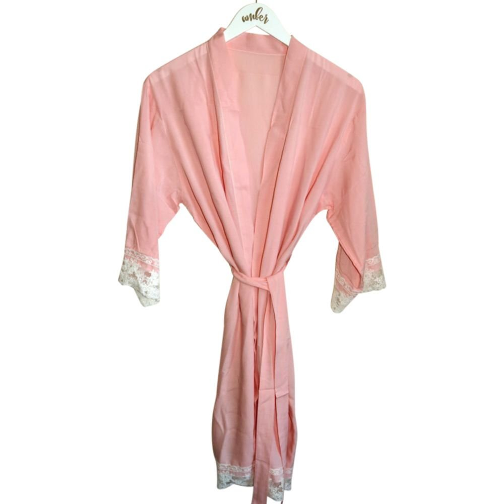 Mother of the Groom Cotton Robe With Lace Trim Style EB3184BPW-MOG, Blush