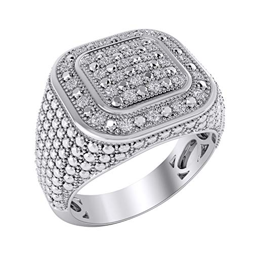 (Trillion Jewels Mens Wedding Ring 0.23 CT Round Cut Diamond in 14K White Gold Fn (10))