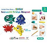 YellowBee My-Clay Seaworld Fridge Magnet Kit Pack Of 10 - Crab, Octopus, Seahorse, Fish (Mc-P09)