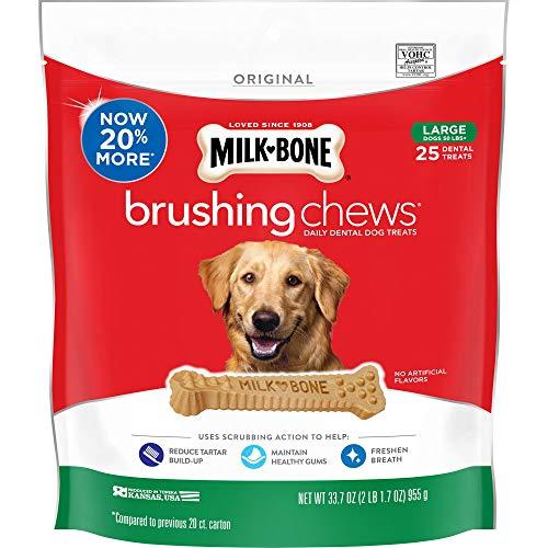 Milk-Bone Brushing Chews Daily Dental Dog Treats, Large, 33.7 Ounce Pouch (Milk Bone Brushing Chews Bad For Dogs)