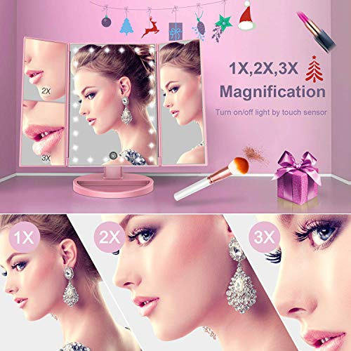 BESTOPE Makeup Mirror Lighted Makeup Mirror with Lights,Vanity Mirror with 2x/3x Magnification,180 Degree Rotation…