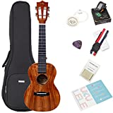 Koa Concert Ukulele Bundle with Bag & Tuner, Strap, Extra Aquila Strings, Polishing Cloth, 2 Pins Installed, Instructional Book, KUC-70 HANKEY