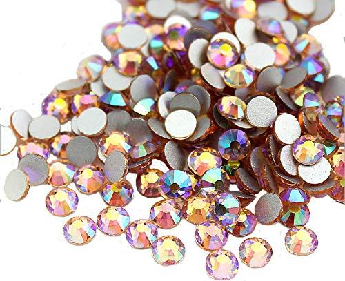 (Jollin Glue Fix Flatback Rhinestones Glass Diamantes Gems for Nail Art (ss20 576pcs, Topaz AB))