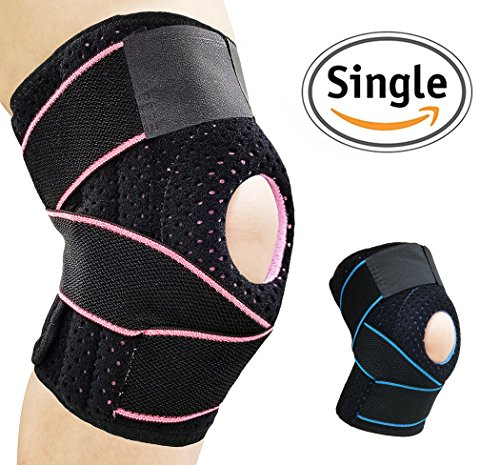 (AOHAN Knee Brace Support for Meniscus Tear,Arthritis,ACL,LCL,MCL Injury Recovery,Running,Cycling,Basketball with Patella Stabilizer for Men Women(Black&Pink))
