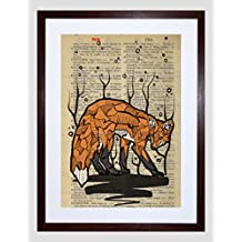 UPCYCLE DICTIONARY FOX DRAWING ANIMAL FRAMED ART PRINT POSTER F97X12407