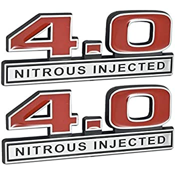 """NOS Nitrous Injected Engine Emblem Badge Logo in Red with Chrome Trim 7/"""" Long"""