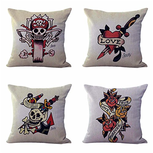 set of 4 cushion covers Sailor Jerry tattoo design interior ideas ()