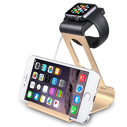 Apple Watch Series 2 Stand, SPARIN Aluminum Dual Stand Charge Station for Apple Watch & iPhone, Ergonomic Viewing Angle, Fit all Apple Watch Models (38mm and 42mm), [With Premium Stylus Pen], Gold