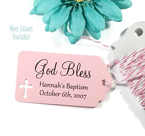 Light Pink Baptism Tags - Small Personalized Favor Tags with God Bless (Set of 20)