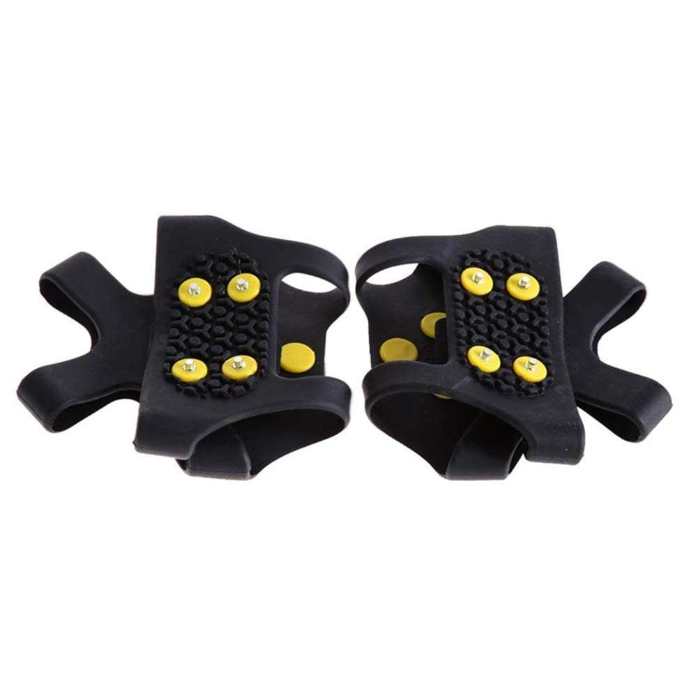 KONVINIT Traction Cleats for Walking or Hiking on Snow and Ice Jogging 1 Pair Anti Slip Snow Ice Climbing Spikes Grips Crampon Cleats 10-Stud Shoes Cover