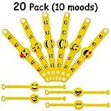 MelonBoat Emoji Rubber Wristband Bracelet for Kids, Set of 20, 10 Designs Value Pack