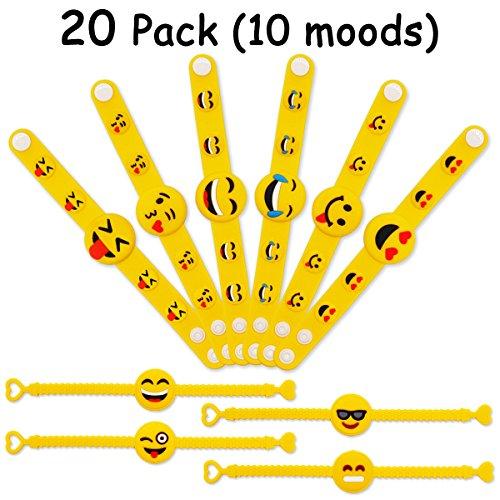 MelonBoat Emoji Rubber Wristband Bracelet for Kids, Set of 20, 10 Designs Value (Valentine Boxes For Girls)
