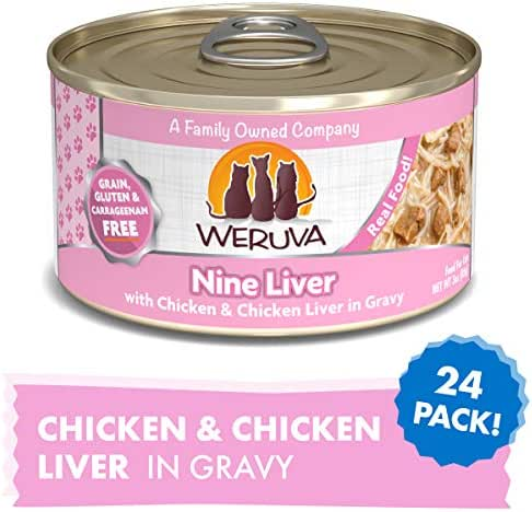 Weruva Classic Cat Food, Nine Liver With Chicken Breast & Chicken Liver In Gravy, 3Oz Can (Pack Of 24)