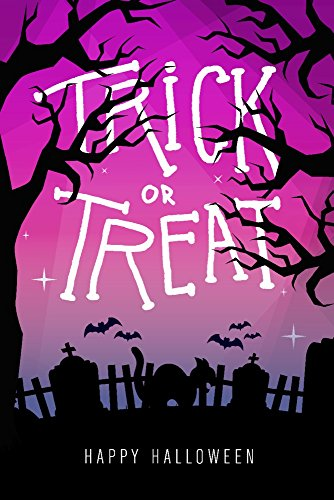 Happy Halloween - Trick or Treat - Graveyard Cat (9x12 Art Print, Wall Decor Travel Poster) -