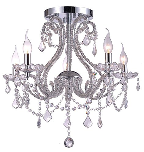 kristall kronleuchter deckenleuchte lster beleuchtung wohnzimmer deckenlampe design edel modern 54cm 5xe14 fassungen - Kronleuchter Deckenleuchte