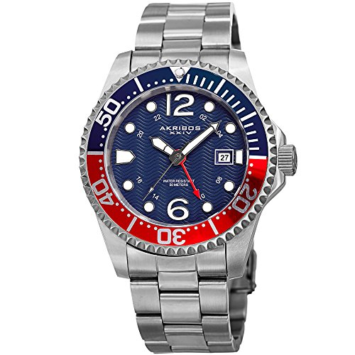 Akribos XXIV Men's Diver Watch - Designer Stainless Steel Silver Link Bracelet Wristwatch with Blue and Red Dial and Bezel – AK1000SSBU