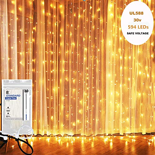 KNONEW LED Window Curtain Icicle Lights, 594 LEDs, 19.7ft x 9.8ft, 8 Modes, String Fairy Light, LED Curtain String Light for Wedding Party/Christmas/Party Backdrops + Cable Ties (Warm White)
