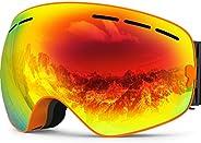 ZIONOR X Ski Snowboard Snow Goggles OTG Design for Men Women with Spherical Detachable Lens UV Protection Anti
