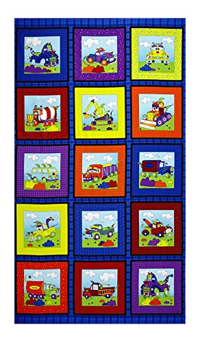 (RJR Fashion Fabrics Monster Truck Blocks with Rocks 24.5in Panel Zaffre Blue Fabric)