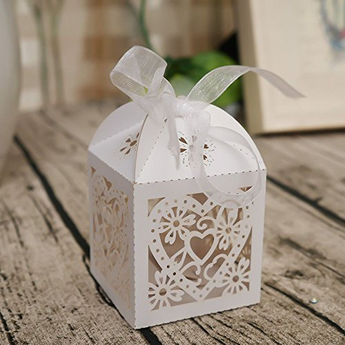 NUOMI 20 Pack Valentine's Day Treat Boxes, Laser Cut Cardboard Heart-Shaped Hollowed Gifts Boxes, Wedding Party Favors Sweets Cookie/Candy Holders with White Ribbon