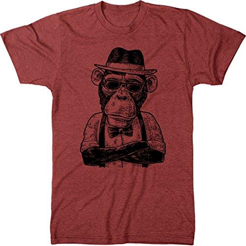 - Simian Series - Cool Hip 20s Style Monkey Men's Modern Fit Tri-Blend T-Shirt (Vintage Red, Medium)