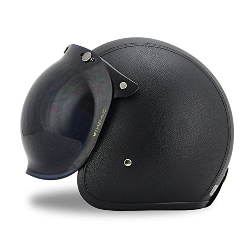 Leather Helmet Shields (Woljay 3/4 Open Face helmet, Motorcycle Helmet Flat Leather with Bubble Shield Black (M))