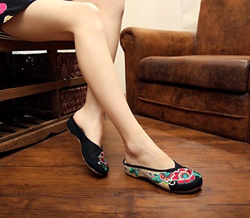 mujer la Soporte chino de 37 black excellanyard bordado de zapatillas paWq4