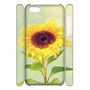 3D iPhone 5C Case,Beautiful Sunflower Macro Hard Shell Back Case for White iPhone 5C