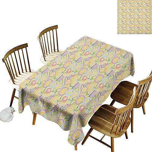 kangkaishi Washable Long Tablecloth Dinner Picnic Home Decor Ornamental Zentangle Pattern Ethnic Floral Arrangement Eastern Cultures W60 x L126 Inch Yellow Pink Baby Blue
