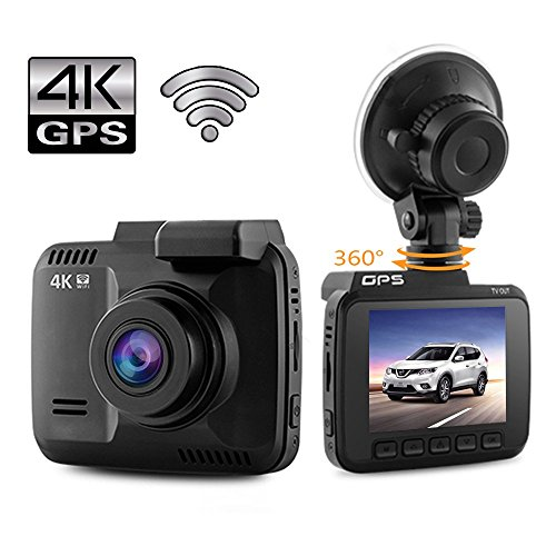 Dash Cam 4K Car Camera DVR Recorder Built In WiFi and GPS APP Support, G Sensor, Loop Recording, Parking Monitoring, 2.4' LCD, 150 Degree Wide Angle Lens
