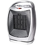 Ceramic Portable Space Heater Oscillating Electric Heater with Adjustable Thermostat Overheat Protection and Carrying Handle, 750/1500W ETL Listed Quiet Heater for Home Office Kitchen Bedroom and Dorm