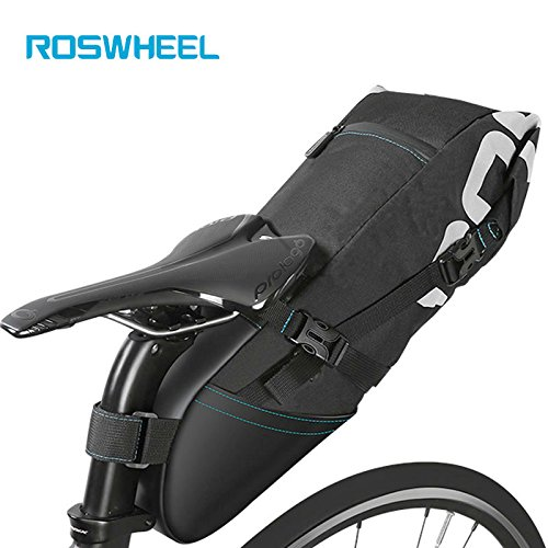 Roswheel 8L Bicycle Bike Bag cycling accessories Tail Bag Wrap-up Closure Volume Seat Post Storage Pack MTB Road Pannier Pouch