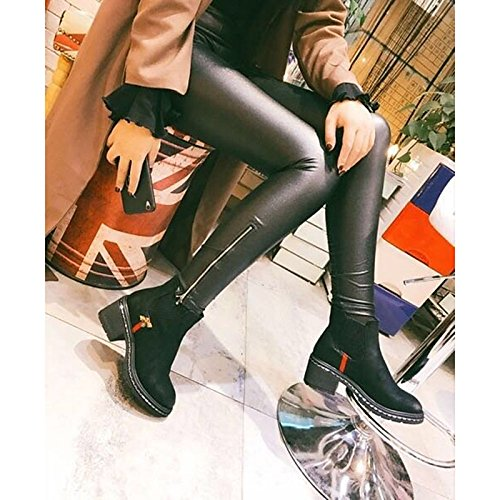 ZHZNVX Shoes HSXZ Black Boots Women's for Fall Spring Black PU Comfort Outdoor SBSHxEw