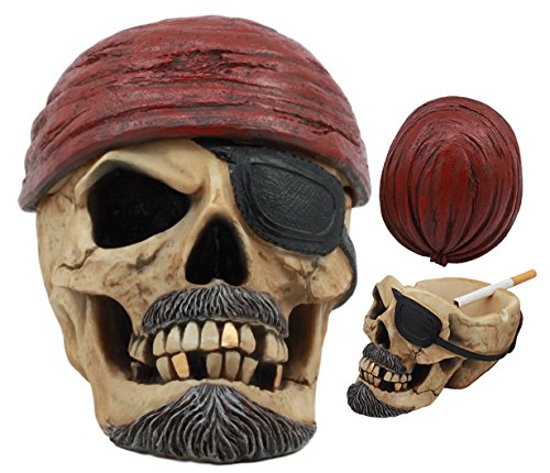 Ebros Caribbean Jolly Roger Red Bandanna Pirate Skull Ashtray Statue 4.75