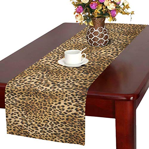 InterestPrint Leopard Skins Colorful Wild Animal Print Table Runner Linen & Cotton Cloth Placemat Home Decor for Kitchen Dining Wedding Party 16 x 72 Inches]()